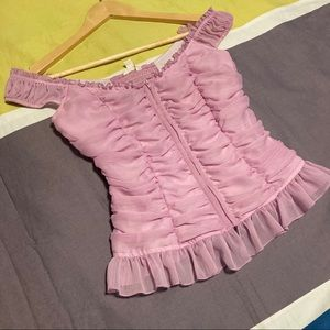 Guess Purple Off Shoulder Ruffle Top Extra Small